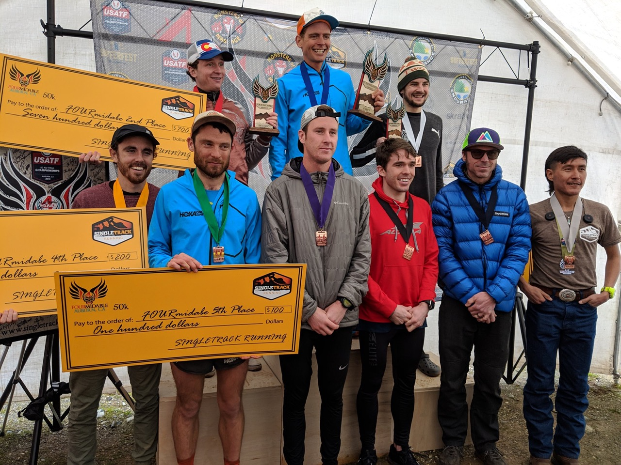 top 10 finishers at the USATF 50k trail championships at Fourmidable